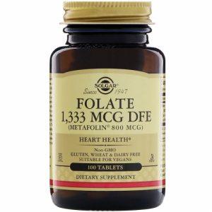 Folate, 1333 mcg, (800 mcg Metafolin) 100 Tablets - Solgar