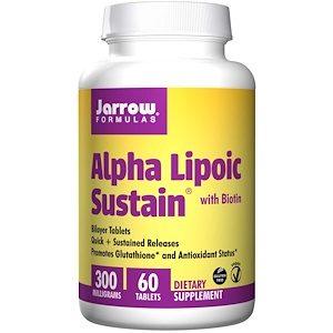 Alpha Lipoic Sustain 300, with Biotin (300mg) - 60 Tablets - Jarrow