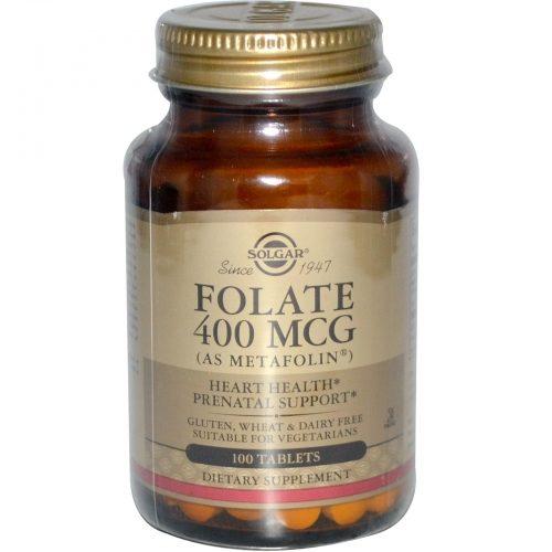 Folate, As Metafolin, 400 mcg, 100 Tablets - Solgar