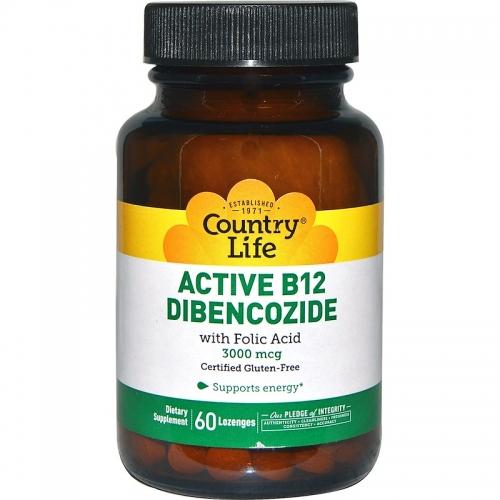 Active B12 Dibencozide, 3000 mcg, 60 Lozenges - Country Life