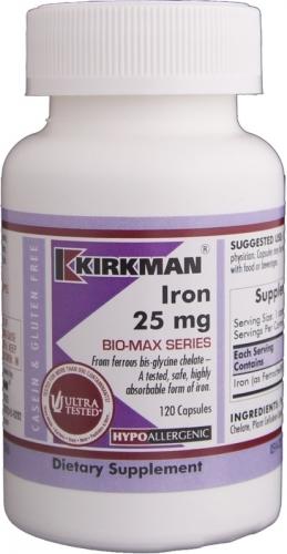Iron, Bio-Max Series, 25 mg, 120 Capsules - Kirkman Labs