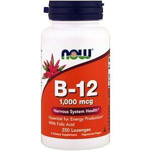 B12/B-12, 1000 mcg, 250 Lozenges - Now Foods