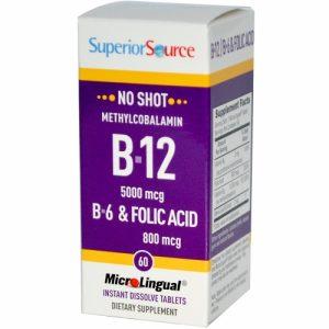 Methylcobalamin B12/B-12 1000 mcg, B-6 & Folic Acid 800 mcg, MicroLingual, 60 Tablets - Superior Source