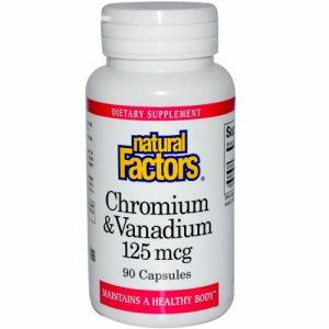 Chromium & Vanadium, 125 mcg, 90 Capsules - Natural Factors