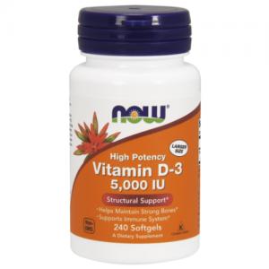 Vitamin D3, 5,000 IU- 240 Softgels - Now Foods