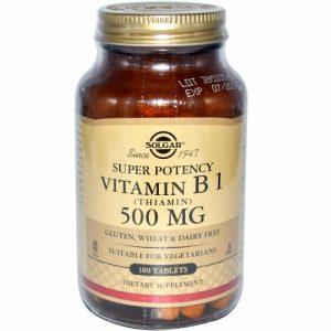 Vitamin B1 (Thiamin), 500 mg, 100 Tablets - Solgar