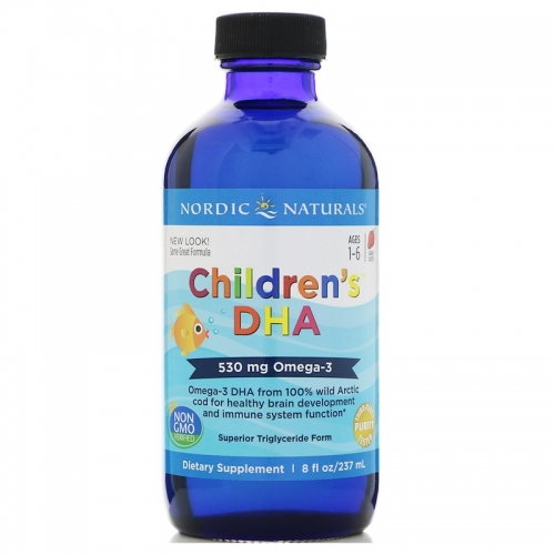 Children's DHA (Cod Liver Oil), Strawberry, 530 mg, 8 fl oz (237 ml) - Nordic Naturals