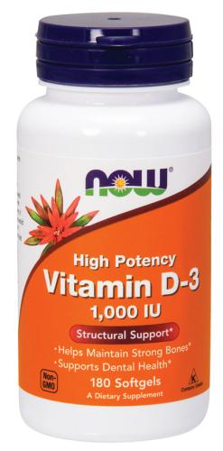 Vitamin D3/D-3, High Potency, 1000 IU, 180 Softgels - Now Foods