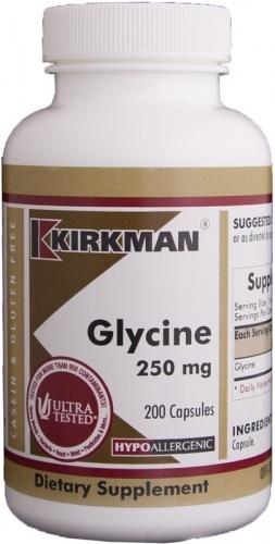 Glycine 250 mg - Hypoallergenic 200 Caps - Kirkman - 0091-200