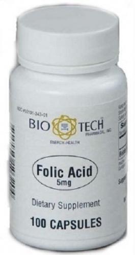 Folic Acid 5 mg 100 caps - Bio-Tech