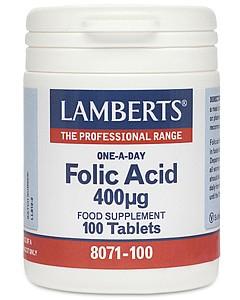 Folic Acid 400 mcg, 100 Tabs - Lamberts