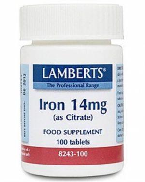Iron 14mg  (as Citrate), 100 tabs - Lamberts