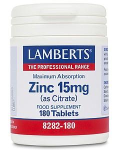 Zinc 15mg-  (as Citrate) 180 tabs - Lamberts