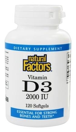 Vitamin D3, 2,000 IU- 120 Softgels - Natural Factors