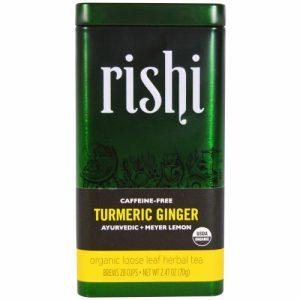 Turmeric Ginger, Organic Loose Leaf Herbal Tea, Ayurvedic + Meyer Lemon, 2.47 oz (70 g) - Rishi Tea