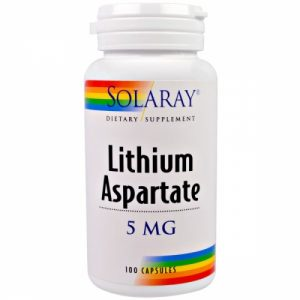 Lithium Aspartate, 5 mg, 100 Capsules - Solaray