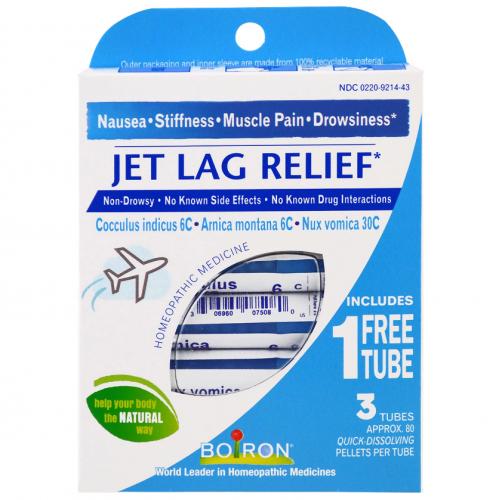 Jet Lag Relief, 3 Tubes, 80 Quick-Dissolving Pellets Each - Boiron