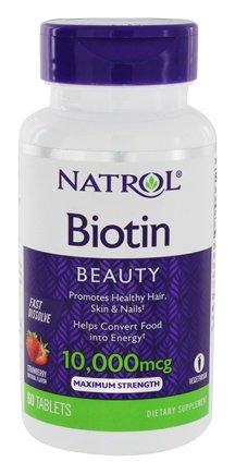 Biotin, Natural Strawberry Flavor, 10,000 mcg, 60 Fast Dissolve Tablets - Natrol