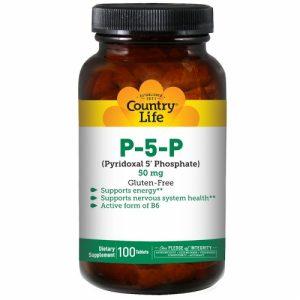 P-5-P (Pyridoxal 5' Phosphate), 50 mg, 100 Tablets - Country Life