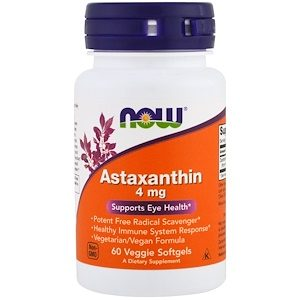 Astaxanthin, 4 mg, 60 Veggie Softgels - Now Foods