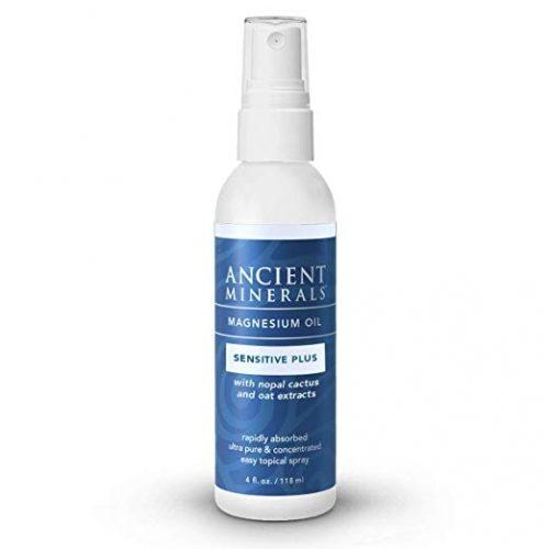 Magnesium Oil 4oz - Sensitive Plus - (spray) - Ancient Minerals (with Avena Sativa (Oat Aventhramides), Nopal Cactus, Organic Chamomile, and Allantoin)